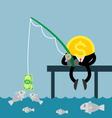 coin money fishing dollar bill vector image vector image