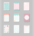 collection of cards with place for notes cute vector image