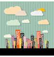 Colorful Abstract Buildings on Paper Retro vector image vector image