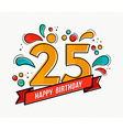 Colorful happy birthday number 25 flat line design vector image vector image