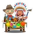 Cowboy and Injun sitting at the holiday table vector image vector image