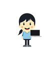 cute girl with laptop cartoon character vector image vector image