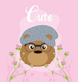 cute hipster bear cartoon vector image vector image