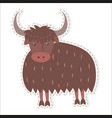 cute yak cartoon flat sticker or icon vector image vector image