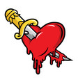 dagger and bloody heart in cartoon style vector image