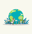 environmental activists holding posters go green vector image vector image