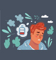 falling asleep at his work tired concept in vector image