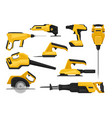 flat set of power tools for construction vector image vector image