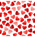 glossy heart seamless pattern on white background vector image vector image