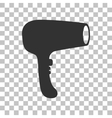 Hair Dryer sign Dark gray icon on transparent vector image vector image