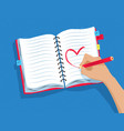 hand drawing heart shape in notebook vector image vector image