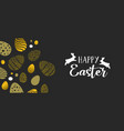 happy easter gold banner with eggs and rabbits vector image
