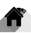 home silhouette with tag black icon with vector image vector image