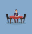 man is having lunch kitchen interior vector image vector image