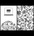 menu cover floral design with black and white aloe vector image vector image