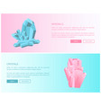 minerals and crystals pink quartz and aquamarine vector image vector image