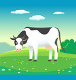 nature summer landscape with cow in meadow vector image vector image
