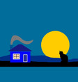 night country house with black silhouette cat vector image
