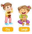 opposite words with cry and laugh vector image