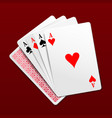 Photorealistic four aces playing cards vector image