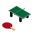 ping pong table and racket isolated on white vector image