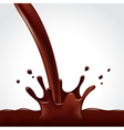Pouring hot chocolate splash on white background vector image vector image