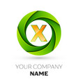 realistic letter x logo in the colorful circle vector image vector image