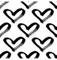 seamless hearts pattern brush painted hearts vector image