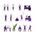 set male and female business people shaking vector image