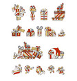 set of cartoon festive gifts vector image vector image
