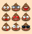 set of cute poop happy poop emoji emotional vector image vector image