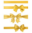 set of golden bows and ribbons on white vector image