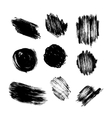 set of grunge circle brush strokes vector image