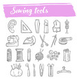 sewing and knitting tools doodle icon set vector image vector image