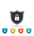 shield security with lock icon on white background vector image vector image