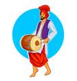 sikh punjabi sardar playing dhol and dancing vector image vector image