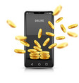 smartphone with gold coins vector image