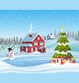 snowy village landscape vector image vector image