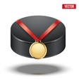 Sport gold medal with ribbon for winning ice vector image vector image