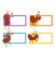 Square labels with red ants vector image