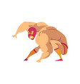 strong wrestler in landing powerful action mixed vector image