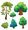 Stylized Cartoon Trees Set vector image
