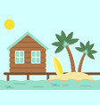 summer holiday bungalow and island with sea vector image vector image