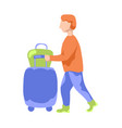tourist man with suitcase and bag flat vector image vector image