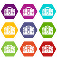 travel bag destination icons set 9 vector image vector image