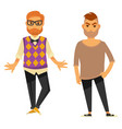two stylish young men in casual clothes isolated vector image vector image