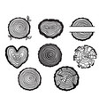 wood tree rings black graphic of vector image
