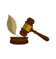 wooden gavel with a feather icon vector image
