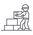 worker builder taking bricks line icon vector image vector image