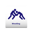 wrestling sport symbol stickman solid icon vector image vector image